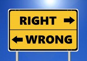 Road sigh saying Right & Wrong